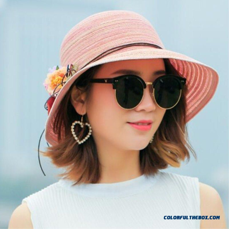 Fashion Women Hat Lady Medium Brim Floppy Summer Beach Sun Straw Hat Cap With Flower Free Shipping