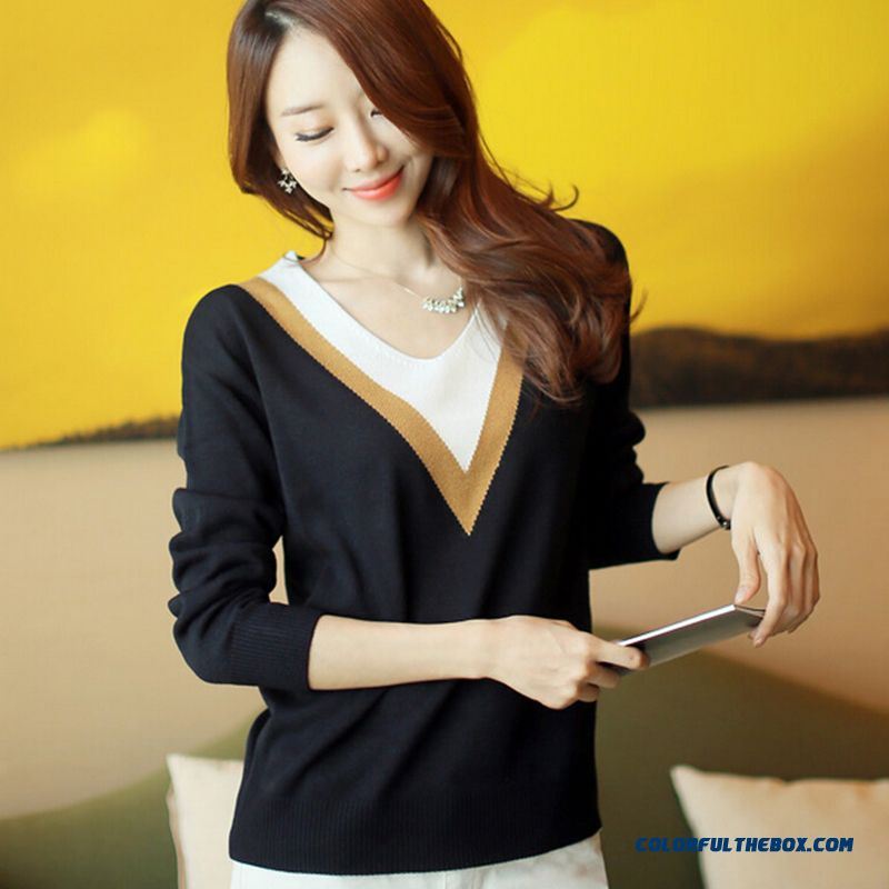 Fashion Women Sweater Slim Bottoming Shirt Long Sleeve V-neck