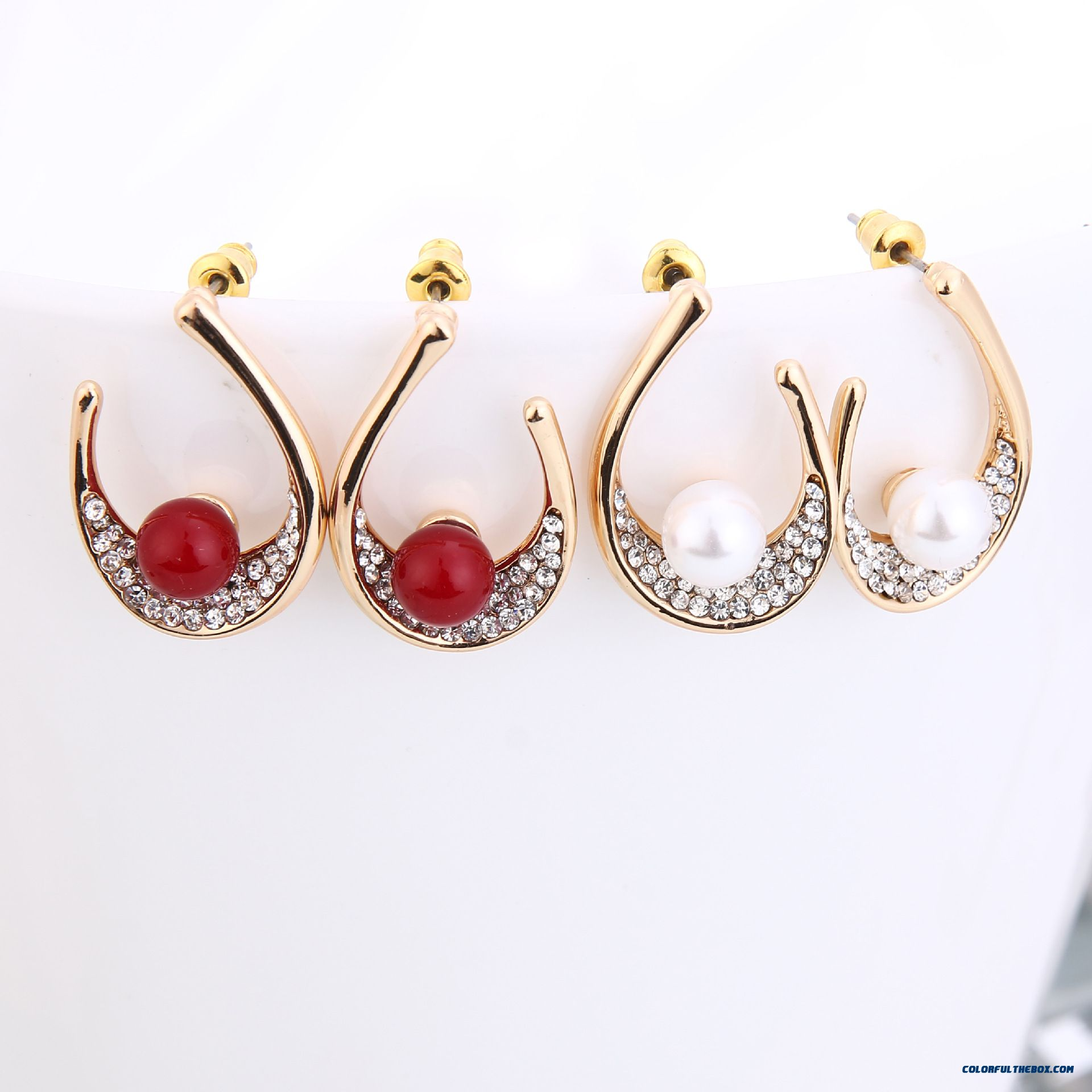 cheap fashion women upearl stud earrings gold plated