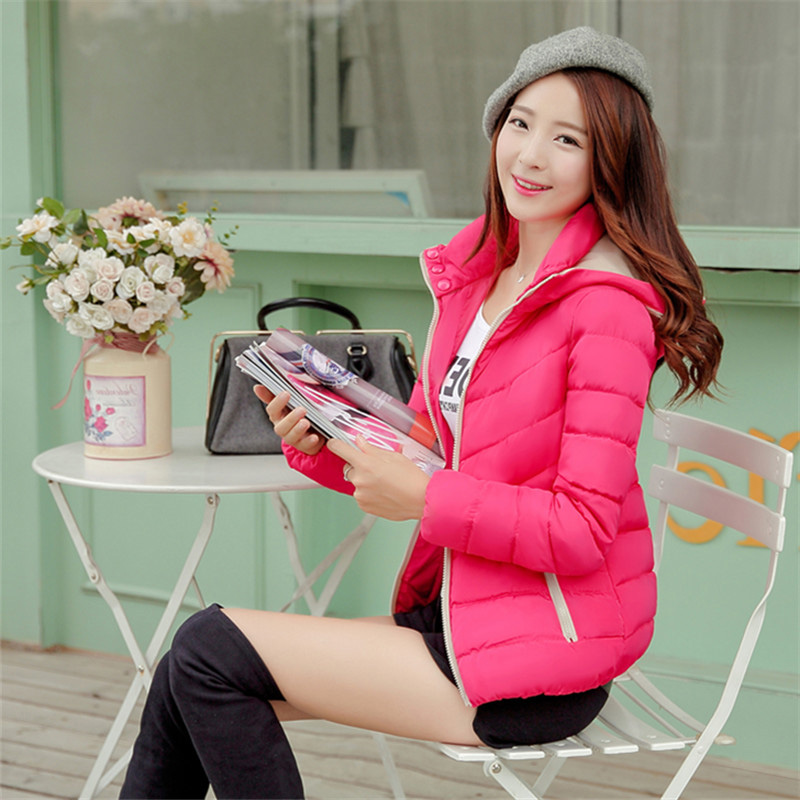 Fashion Women's Hooded Coat 2015 Winter New Large Slim Green Red Black Short