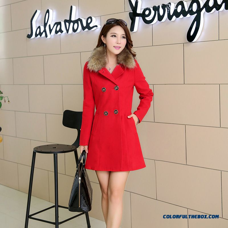 Fashion Woolen Winter Coat Medium-long Slim Women Coat