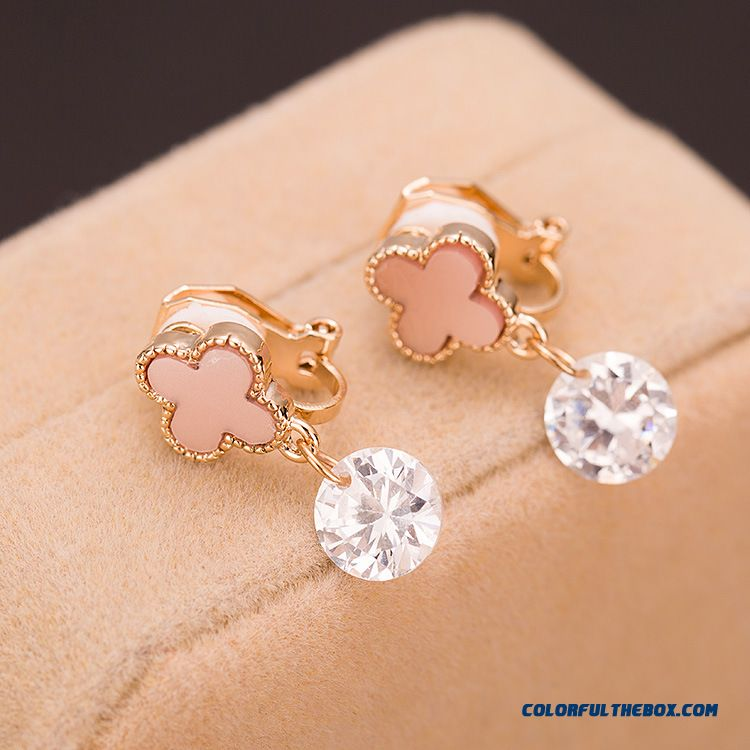 Fashion Zircon Stud Earrings Ear Clip Fashion Leaf-shaped Jewelry Zircon Hot Women Jewelry