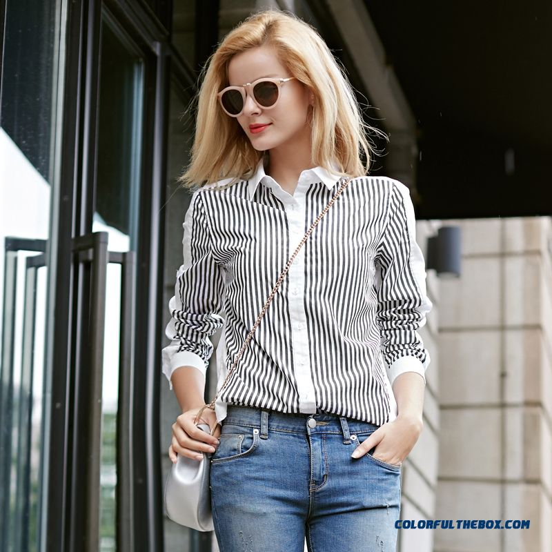 Fashionable And Classic Stripes Stitching Hit Color Cotton Long-sleeved Women Blouses Shirts
