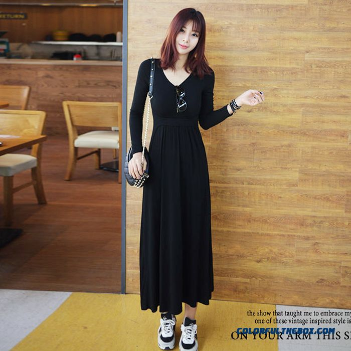 Fashionable Design Large Size Slim Long Women Dress Long Black Cotton