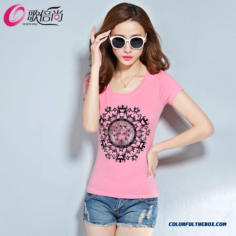 Fashionable Design Large Size Women's Crew Neck Short-sleeve Slim Top Selling