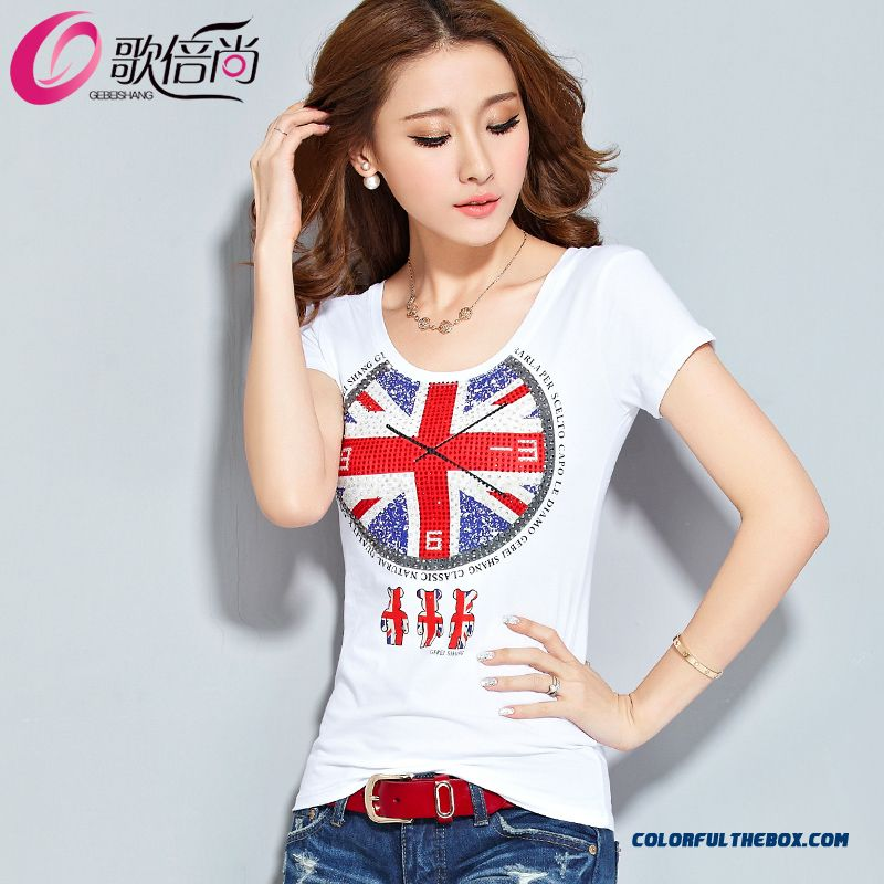 Fashionable Design Summer New Crew Neck Short Sleeve T-shirt Women Flag Printed
