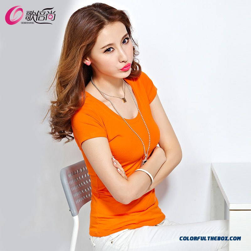 Cheap Fashionable Design Tight-fitting Short-sleeved T-shirt Women Solid  Color Crew Neck Sale Online 8bd64b654