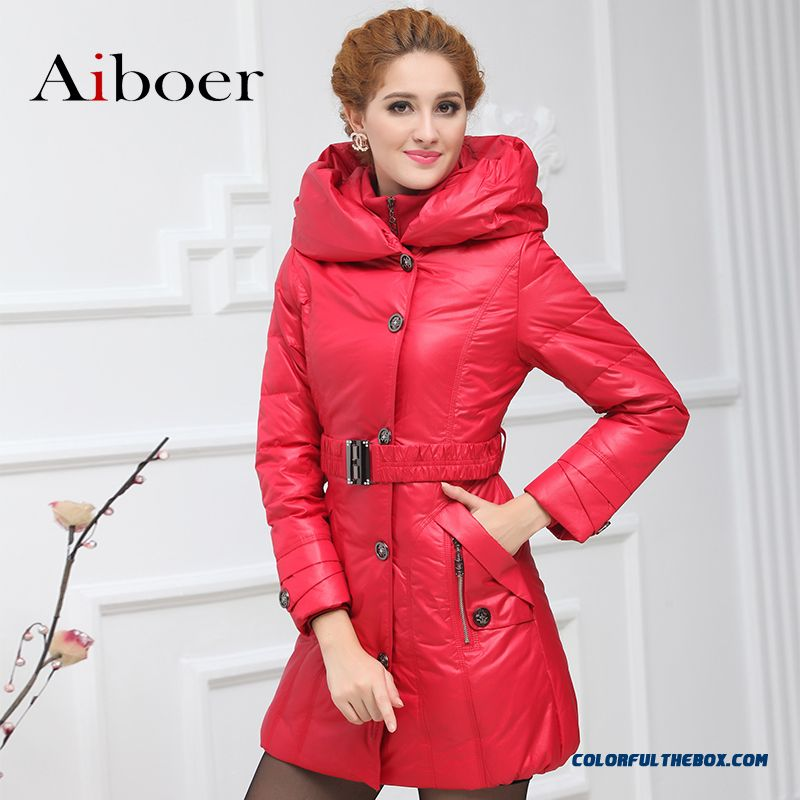 Fashionable Design Winter New Women's Down Jacke High-necked Long-sleeved Zipper Red