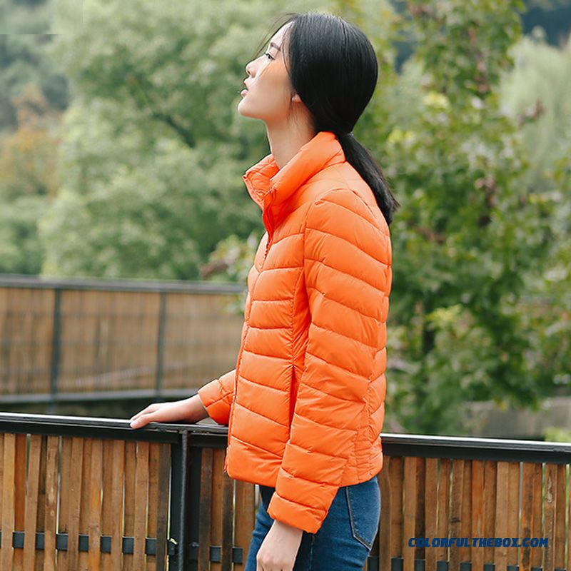 Fashionable Design Winter New Women's Down Jacke Plus Size Orange Short Thin Warm