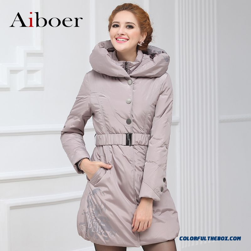 Fashionable Design Winter New Women's Down Jacke Printing Slim Grey Medium Style