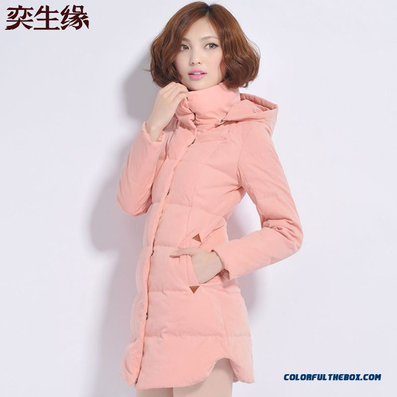 Fashionable Design Winter New Women's Down Jacke Slim Plus Size Pink Upscale Elegant