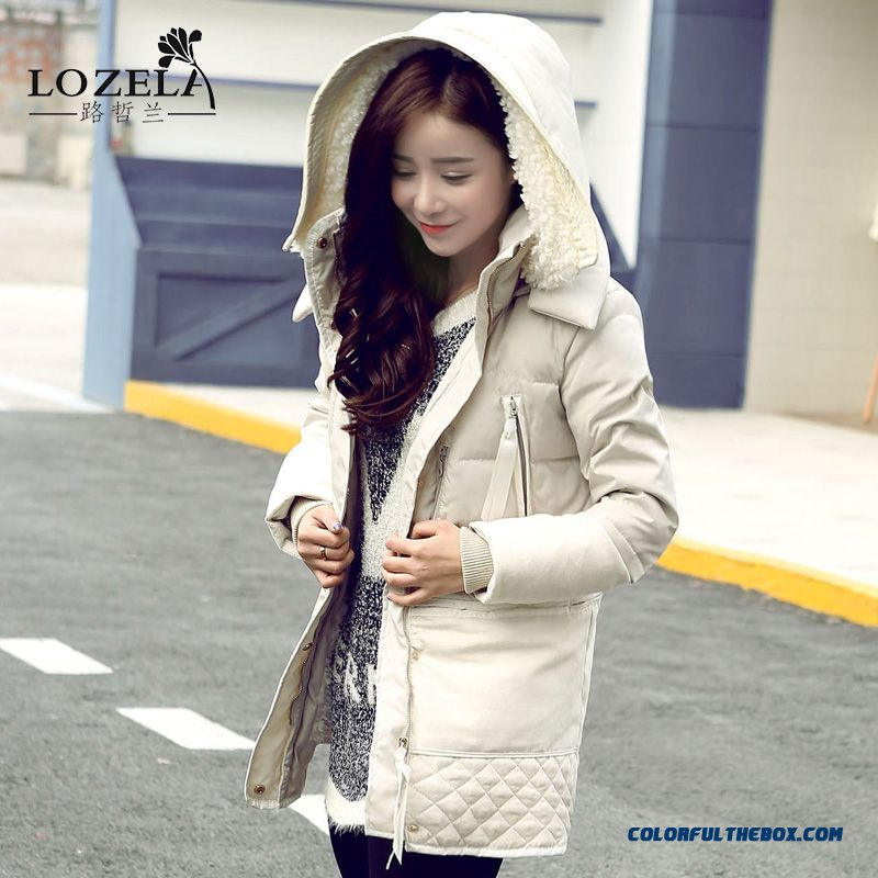 Fashionable Design Winter New Women's Thick Lamb's Wool Down Jacket Hicken Plus Size