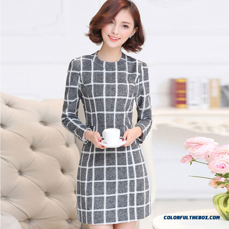 a152655c85415 Fashionable Design Winter Women Woolen Dress Long Sleeve Lattice Slim ...