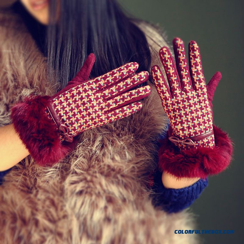 Fashionable Pink Wool Gloves Lady Warm Winter Rabbit Mittens Bowknot Thin Section Women's Accessories