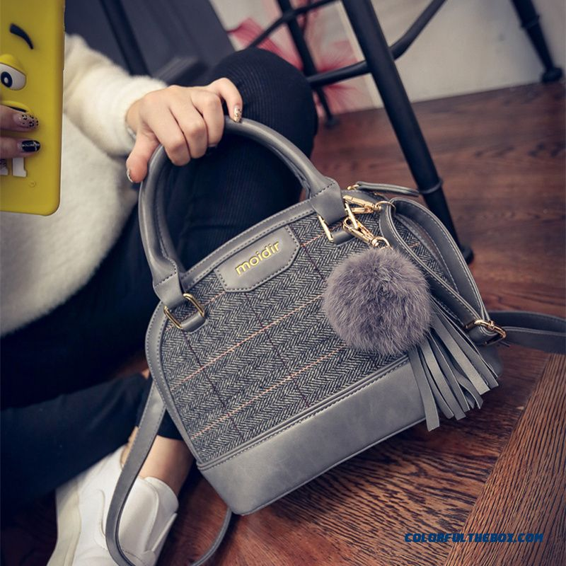 Fashionable Women Bags Hairball Pendant Woolen Shell Style Bags Shoulder Bags