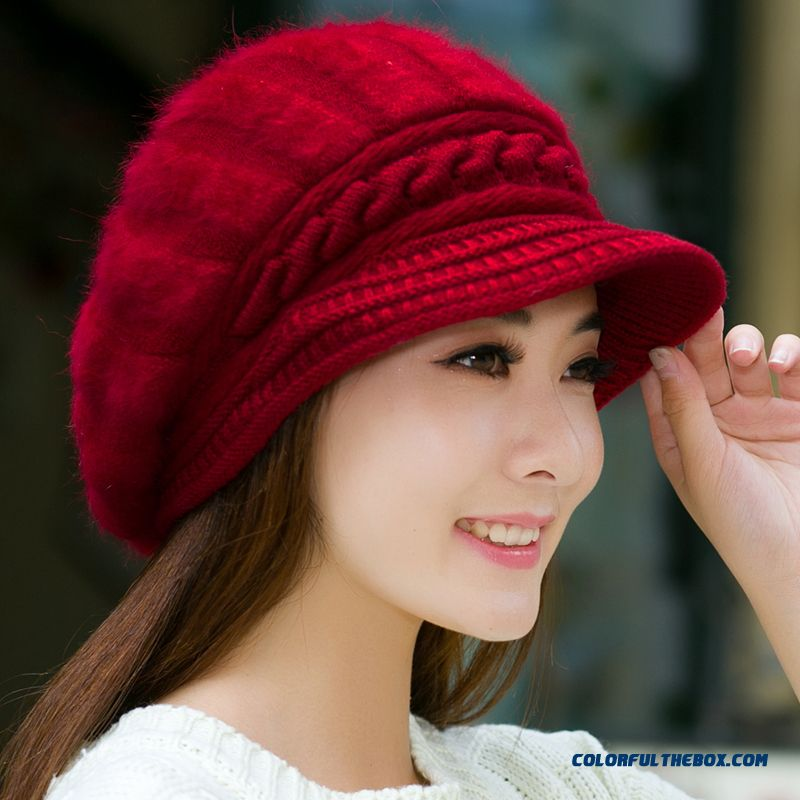 031137b0d54 Fashionable Young Women Girls Thick Warm Ear Protect Casual Cap Berets Knitted  Hat ...