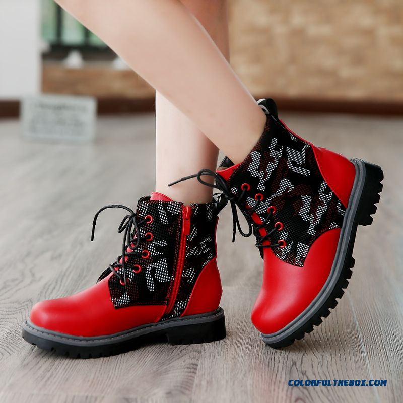 Featured Pu Leather + Hollow Yarn Girls Winter Boots Red And Black Shoes Kids Shoes