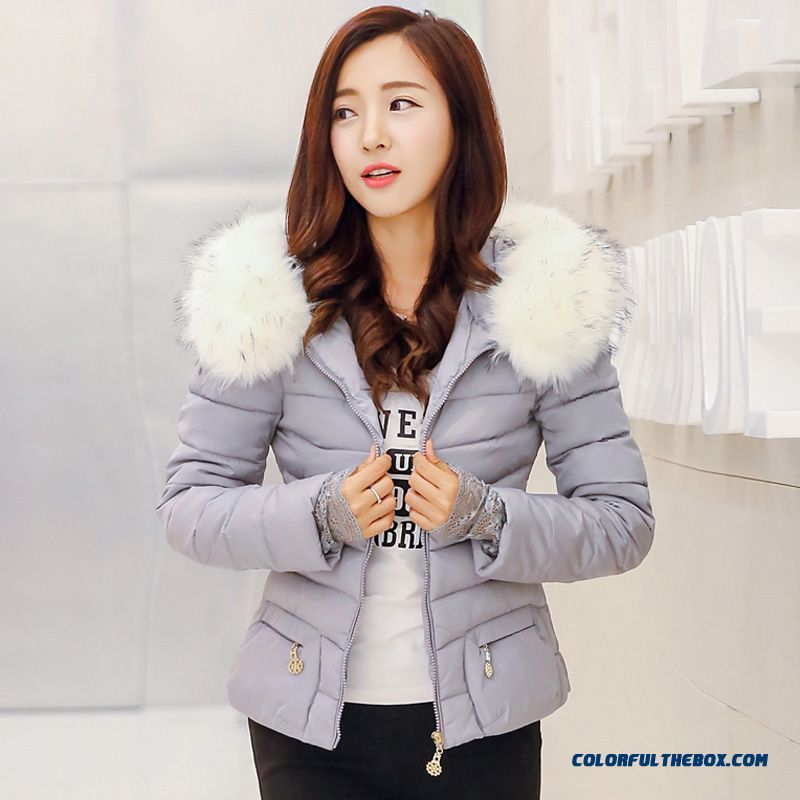 Female Coat New Winter Woolen Collar Fashion White Grey Balck Keep Warm Short
