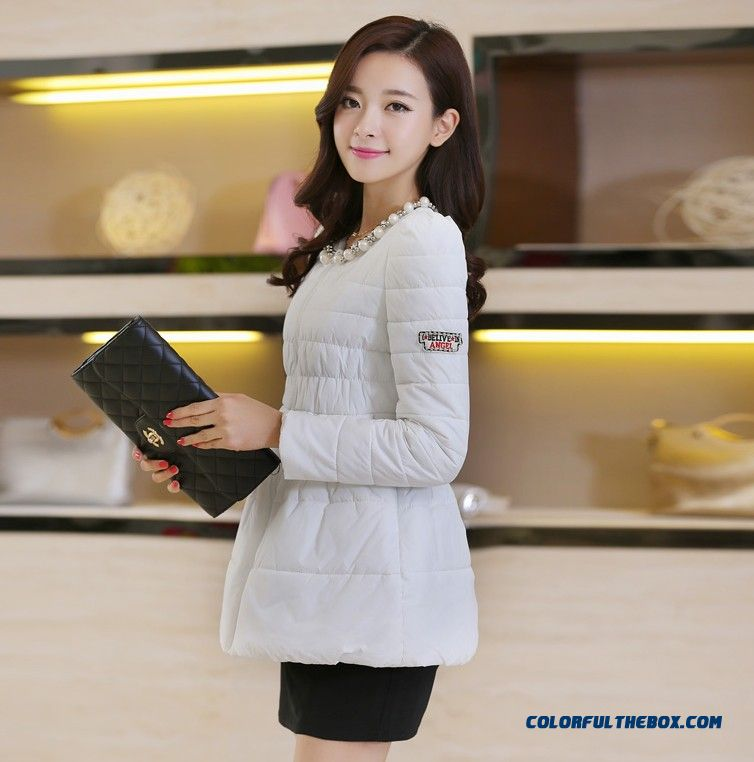 Female Coats Elegent Winter Medium Length Loose Slim White Fashion