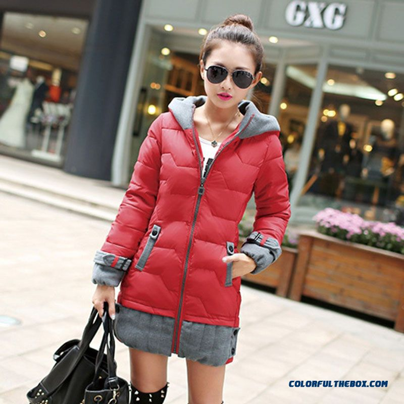 Female Coats Elegent Winter New Large Medium Length Orange Warm