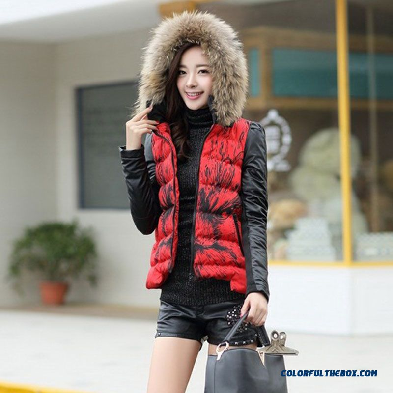 Female Coats Elegent Winter New Large Slim Short Red Black Thick Cotton Jacket