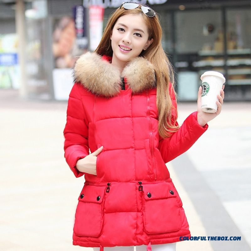 Female Coats Winter New Fur Collar Large Medium Length Grey Red Green Sexy