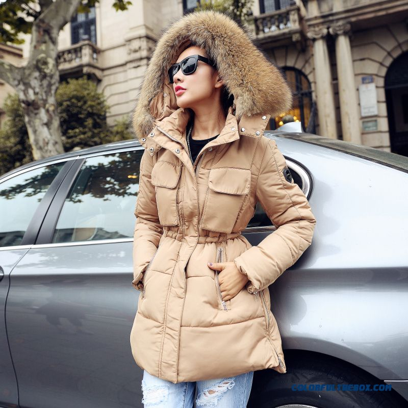 Female Coats Winter New Fur Collar Slim Large Medium Length Cotton-padded Clothes - more images 1