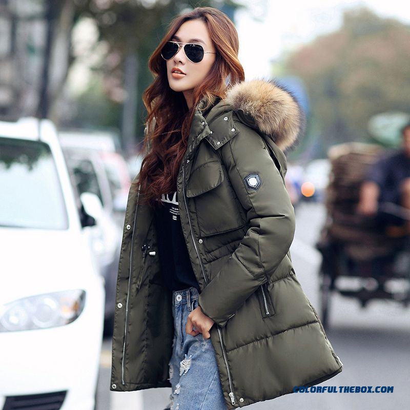 Female Coats Winter New Fur Collar Slim Large Medium Length Cotton-padded Clothes - more images 2
