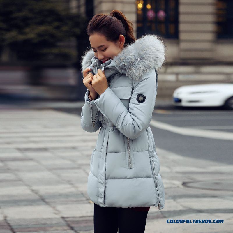 Female Coats Winter New Fur Collar Slim Large Medium Length Cotton-padded Clothes - more images 4