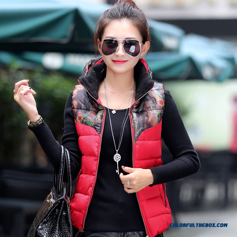 Female Coats Winter New Thick Thermal Printing Slim Yellow Red Black Vest Fashion