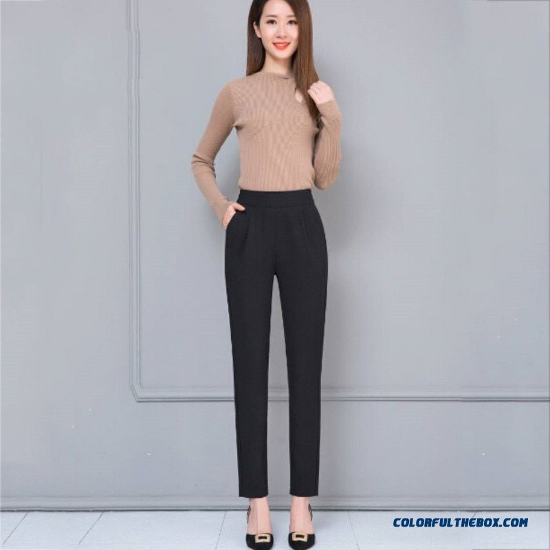 Female Fashion Harem Pants Summer Autumn Elastic Waist Casual Casual Slim Pants Women Pants Work Wear Trousers Harem Pants - more images 2