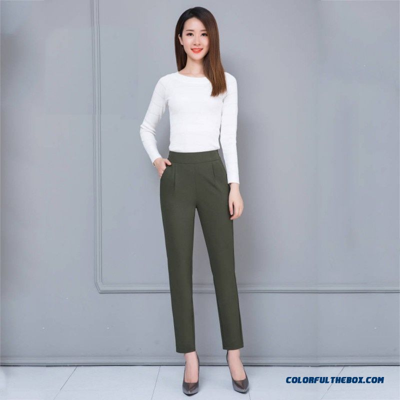 Female Fashion Harem Pants Summer Autumn Elastic Waist Casual Casual Slim Pants Women Pants Work Wear Trousers Harem Pants - more images 3