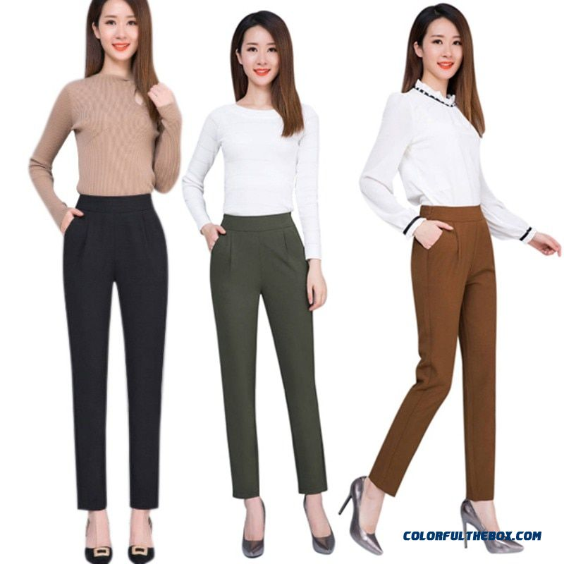 Female Fashion Harem Pants Summer Autumn Elastic Waist Casual Casual Slim Pants Women Pants Work Wear Trousers Harem Pants - more images 4