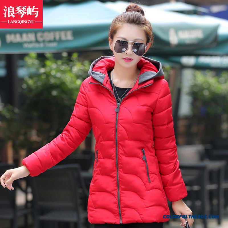Female Hooded Coat New Winter Medium Length Thicken Khaki Blue Sexy
