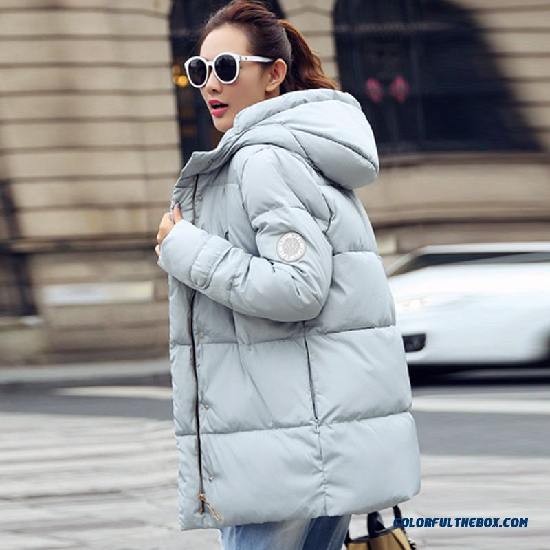 Female Hooded Coat Winter New Thicken White Baby Blue Medium Length Large