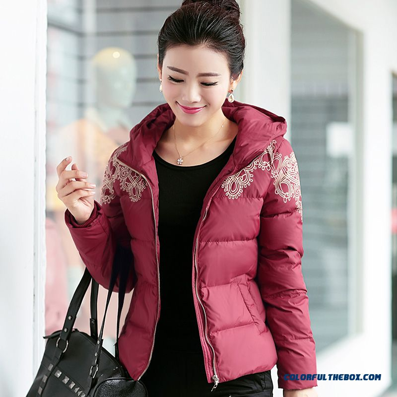 Female Hooded Coats Winter New Thicken Large Short Red Mode