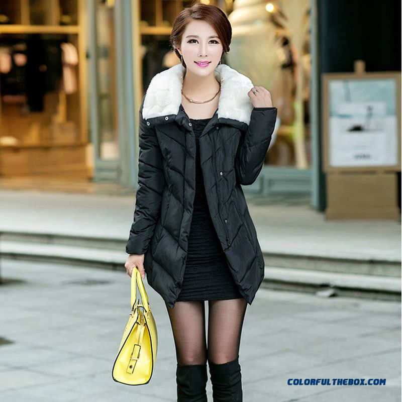 Female Hooded Coats Winter New Thicken Wither With Fur Collar Slim Medium Length