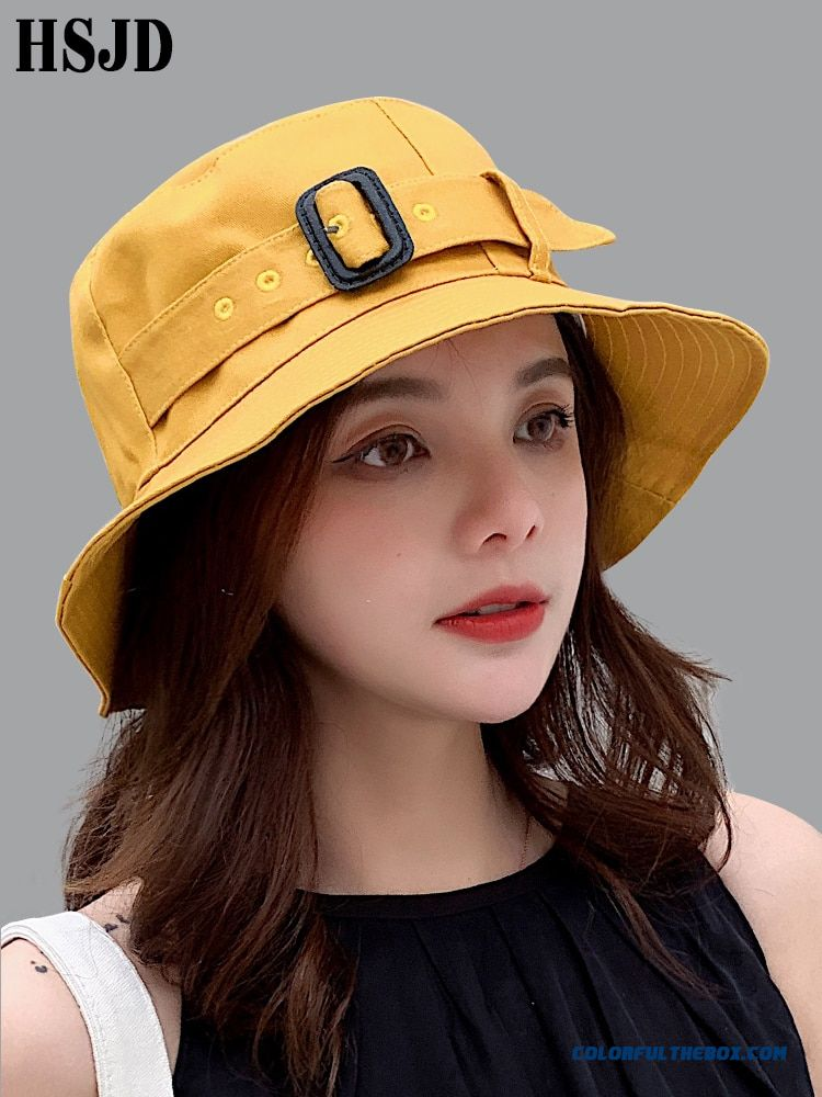 Female Summer Wide Brim Belt Decorated Sun Hat 2019 New Fashion Casual Women Foldable Beach Hat Anti-uv Cotton Sunscreen Cap