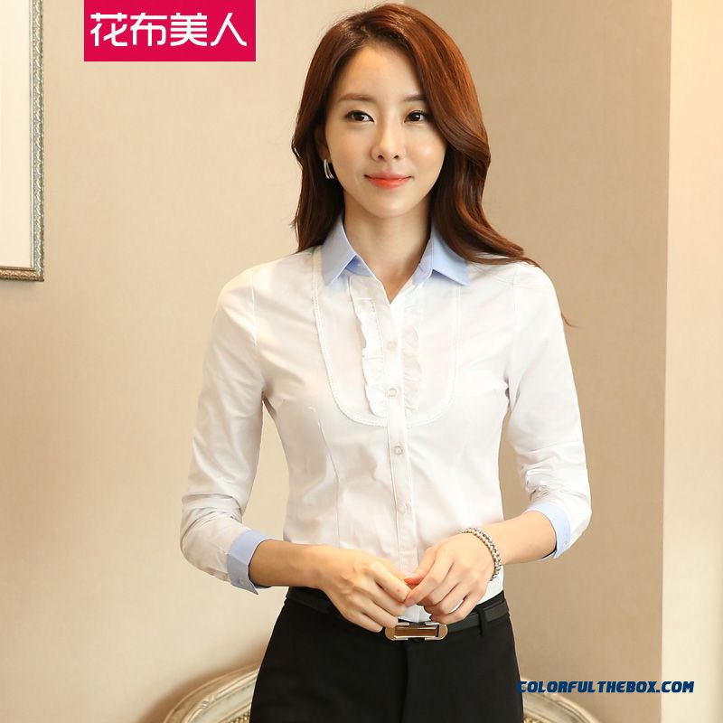 Finest Quality Elegent White Women Shirt Overalls Slim Blouses Soft