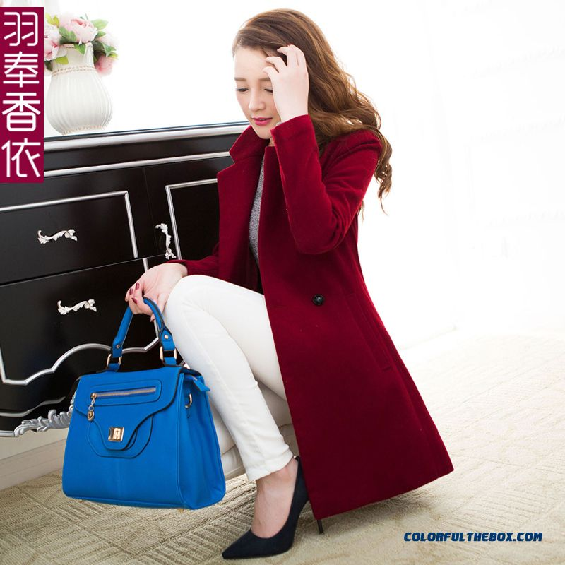 Finest Quality Woolen Coats Slim Red Thicken Medium Style For Women