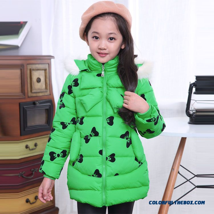 Floral Baby Girls Kids Cotton Coat Medium-long White Fur Collar Design For Girls