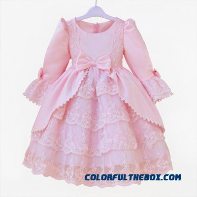 Flower Girl Dresses Girls Cotton Dress Birthday Costumes Kids Clorthing Pink