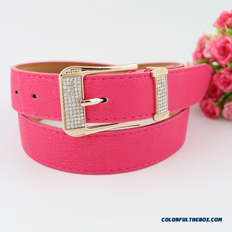 Fluorescent Diamond Fashion All-match Leather Cummerbun Bandwidth Ladies Women Accessories