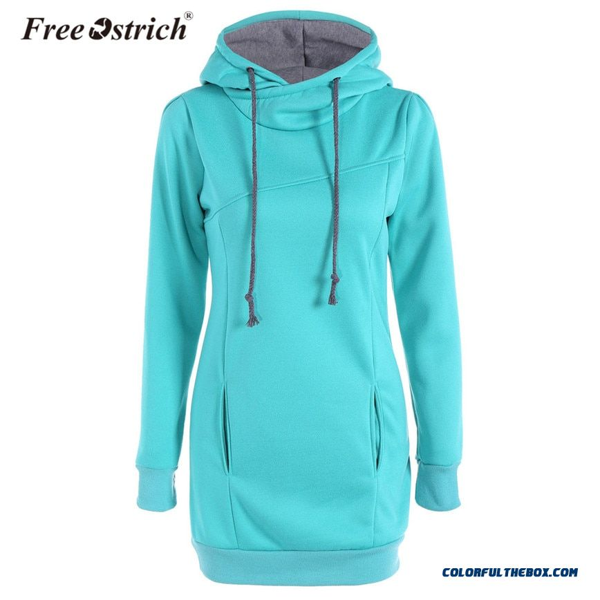 Free Ostrich Hoodies Sweatshirt Women Winter Cotton Solid Warm Clothes Slim Long Sleeve Plus Size Pullovers Dropshipping D28