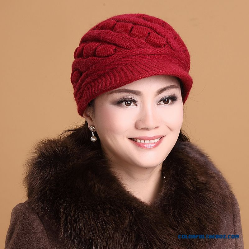 Free Shipping Accessories Plus Velvet Warm Peaked Cap Middle-aged Ladies Ear Protection Cap Solid