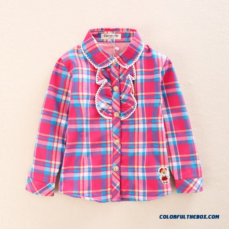 Free Shipping Big Girls Plus Velvet Shirt Long-sleeved Lapel Classic Plaid Thick Shirt
