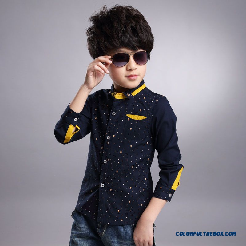 Free Shipping Boy Kids Long-sleeved Shirt Wholesale Low Price High Quality Blouses