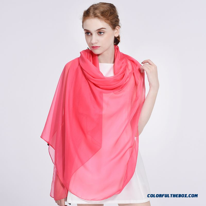 Free Shipping Cheap Solid Color Women Joker Elegant Lady Skin-friendly Sunscreen Chiffon Scarves