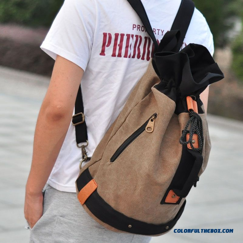 Free Shipping Drawstring Men's Backpack Bucket Travel Canvas Bag Students' Schoolbags
