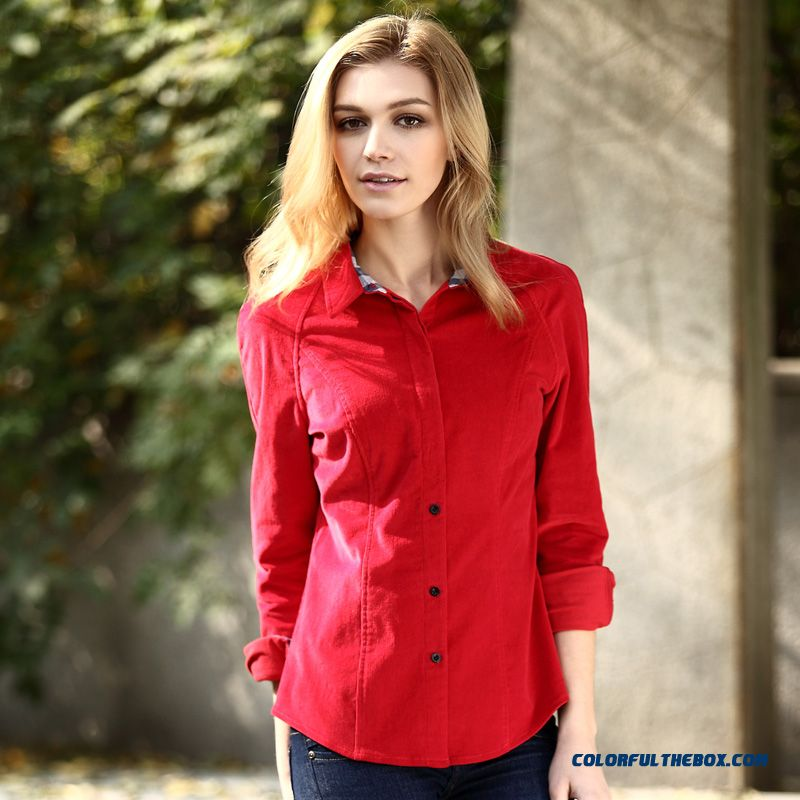 Free Shipping Factory Direct Sales Women Slim Retro Hit Color Cotton 97% Long-sleeve Corduroy Shirts